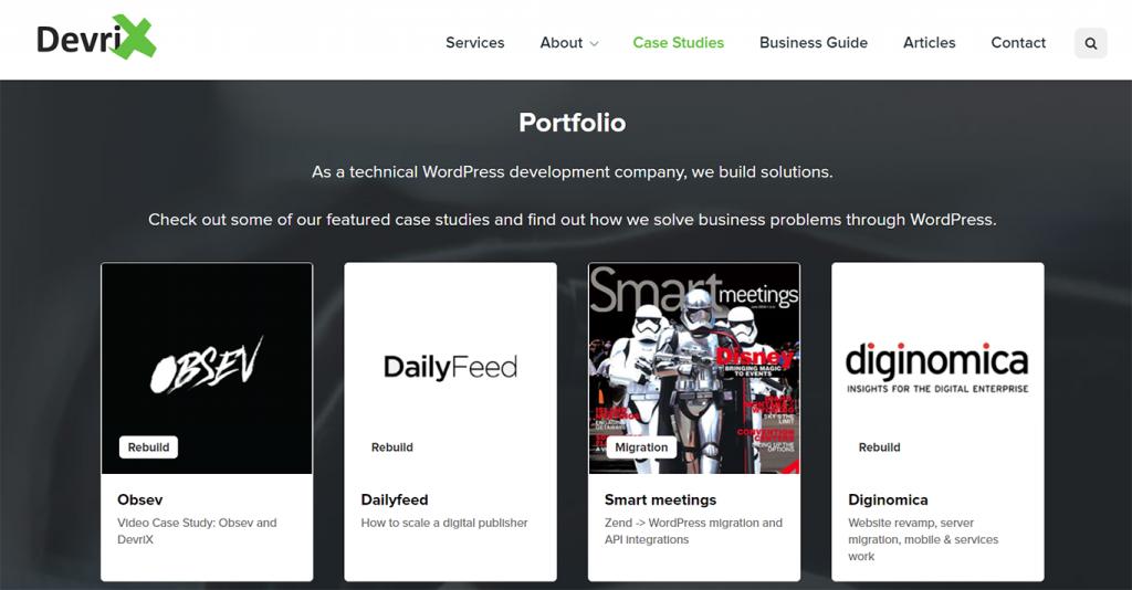 Portfolio of WordPress Development Agency