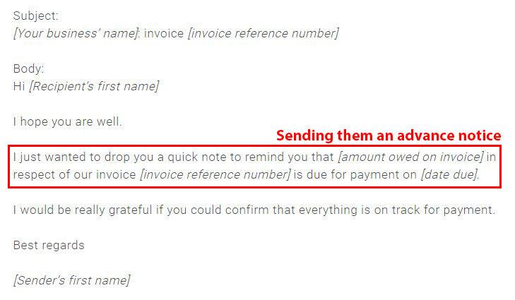 Invoice delayed example.