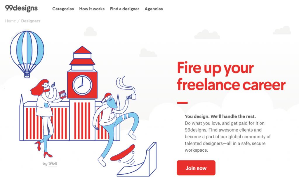 Website of 99designs