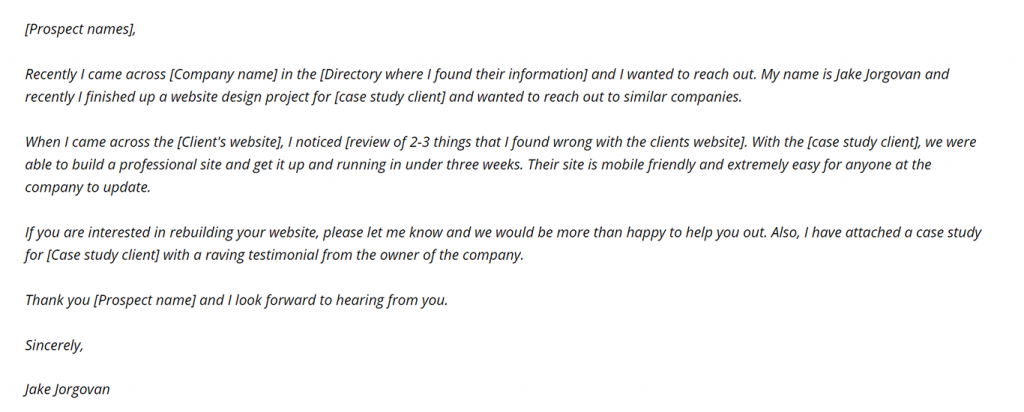Email example which landed Jake a huge project