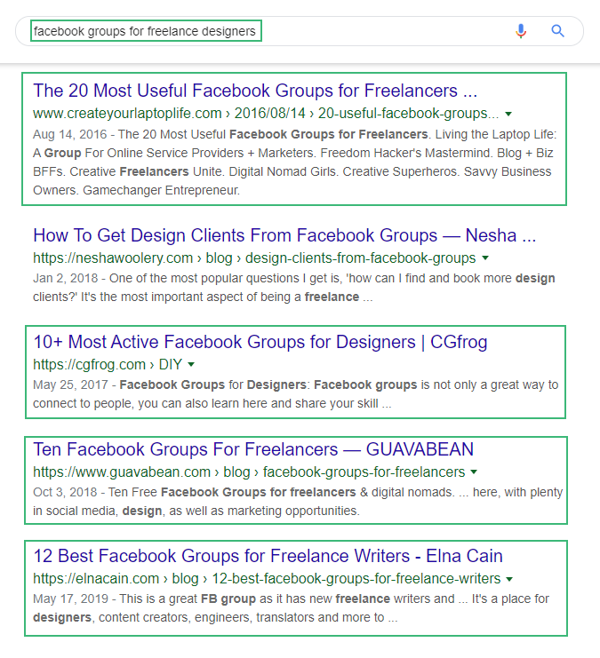 Search of Facebook groups in Google search