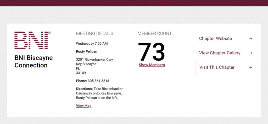 Member count on BNI website