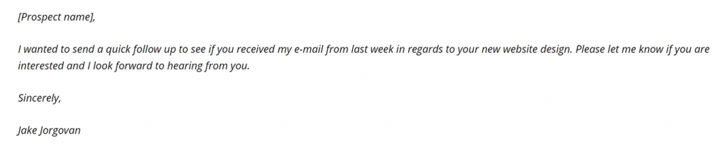 example of second email by Jake