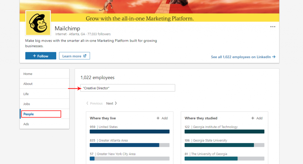 Creative Director search in MailChimp
