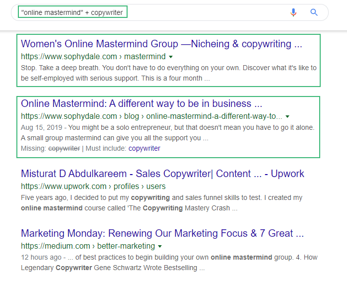 Search on Google with specific keywords