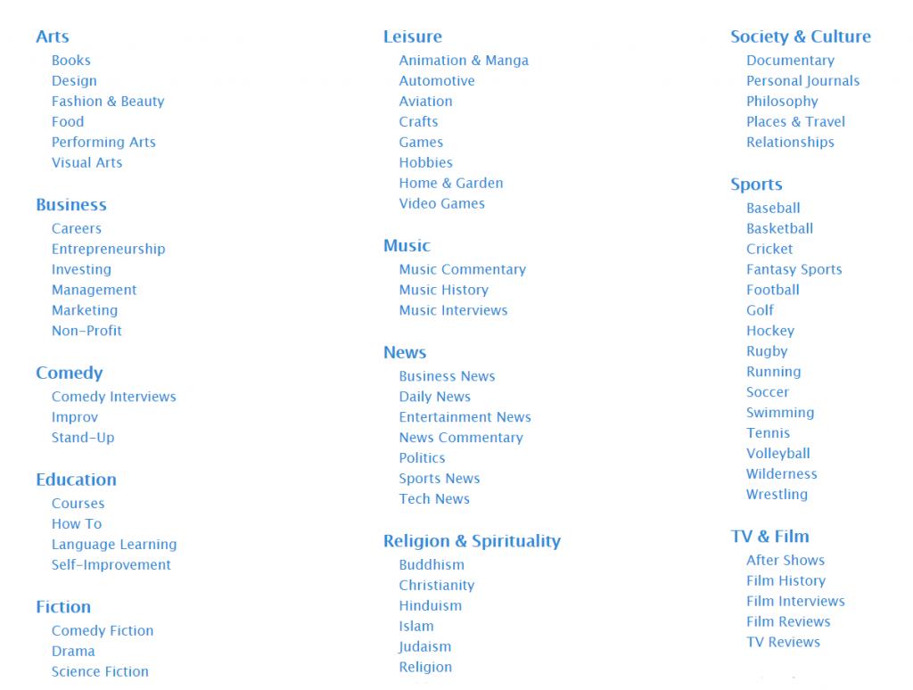Apple Podcasts list