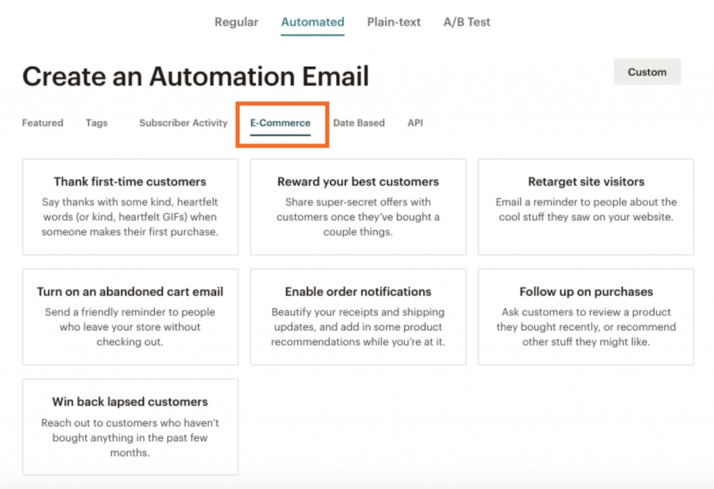 Create automation email for ecommerce cases