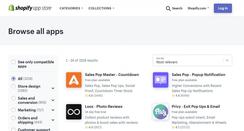 Shopify page search