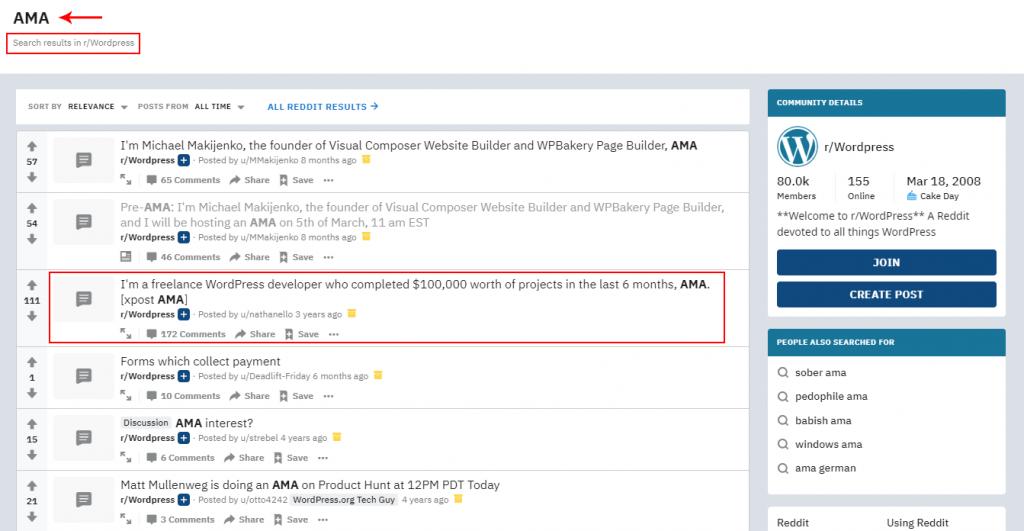 AMA search under WordPress on Reddit