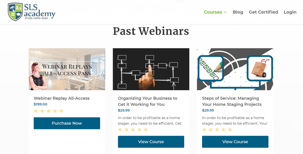 Webinars example on SLS Academy