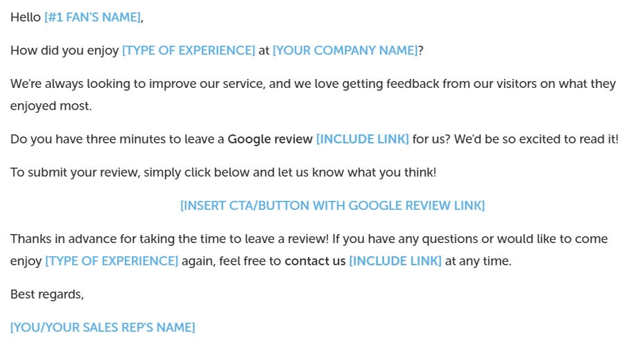 Email to request feedback from customer.